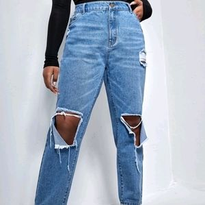 Shein High Waisted Women's Jeans Distressed